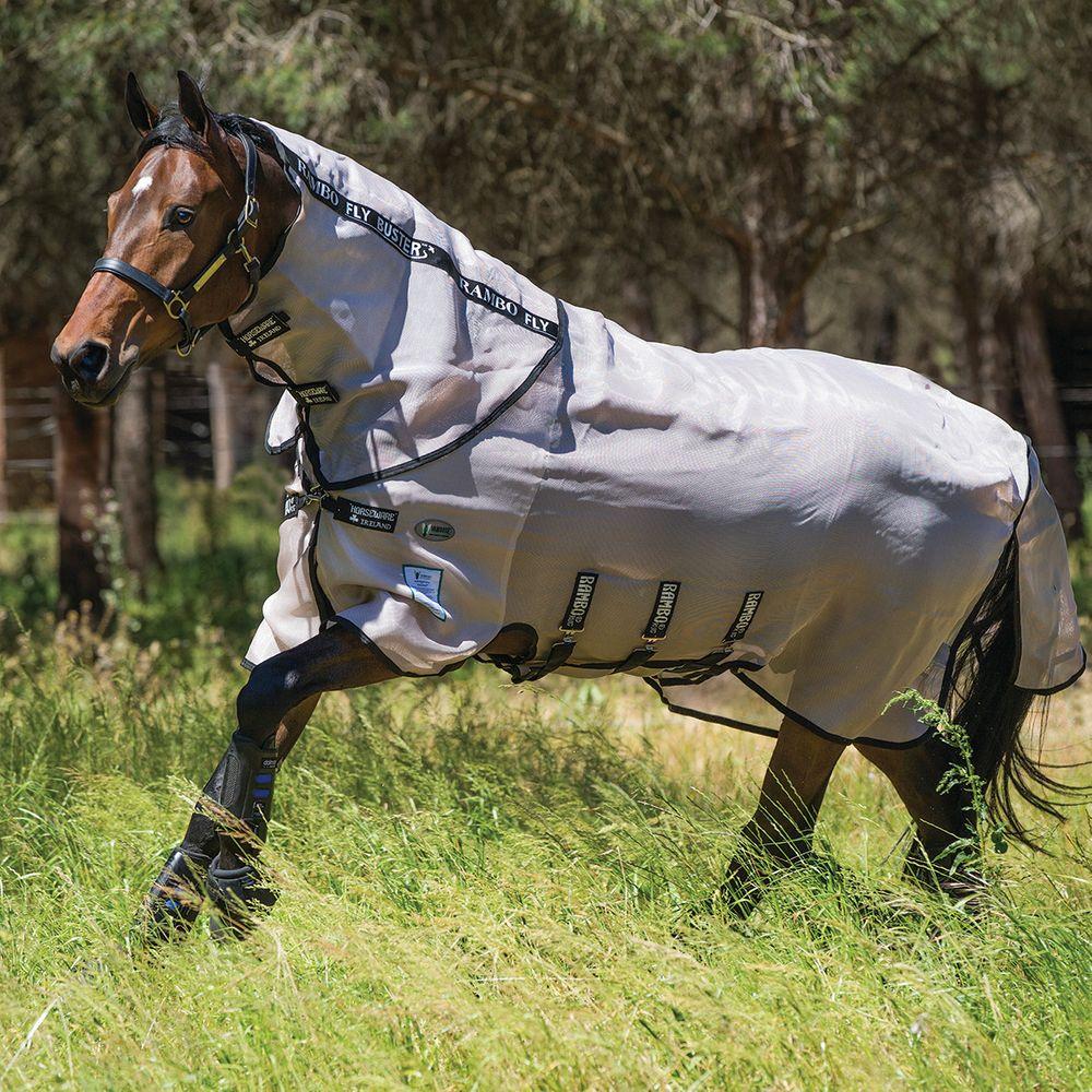 Horseware Rambo Flybuster Vamoose Burgundy Oatmeal//Black Fliegendecke
